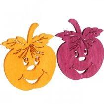 Streudeko grinende æble, efterår, borddekoration, krabbeæble, orange, gul, grøn, lyserød H3,5cm B4cm 72stk.