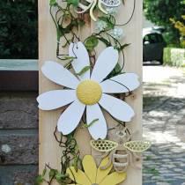 Træblomster, sommerdekoration, gule og hvide tusindfryd, dekorationsblomster til ophængning af 4stk