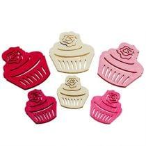 Træ cupcakes borddekoration pastelfarver muffins fødselsdag dekoration 24stk