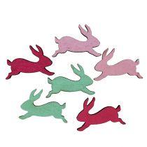 Træ kanin assorteret som scatter dekoration 5cm 24stk