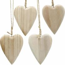 Træhjerter til at hænge naturlige 10cm 4stk