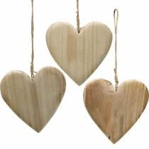 Træhjerte til at hænge natur dekorative hjerter Valentinsdag Mors dag 3stk