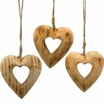 Dekorativt vedhæng hjerte, træ hjerte, Valentinsdag, træ vedhæng, bryllup dekoration 6stk