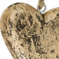 Hjerte til at hænge træ gylden vintage bøjle 15cm