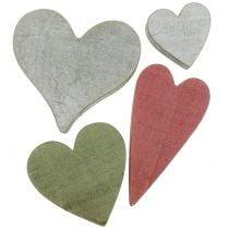 Træhjerter grå / rød / grøn 3-6,5 cm 8stk