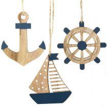 Træbøjle maritim 8,5-10 cm 6stk