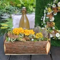 Planter kasse bark planter med håndtag naturlig trækasse