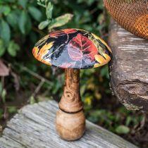 Træsvampedekoration farverige blade efterårspynt sort, farverige Ø13cm H19cm