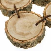 Dekorativ bakke lavet af træskiver, natur 37 × 22,5 cm