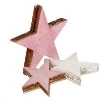 Trestjerne 3-5 cm lyserød / hvid med glitter 24stk