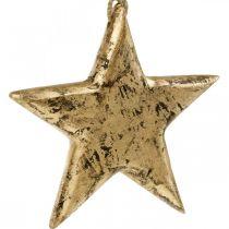 Stjerne at hænge, træ dekoration med guld effekt, advent 14cm × 14cm