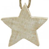 Træstjerner juletræspynt naturligt, hvidvasket 5cm 36stk