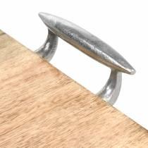 Træbakke med håndtag mango, naturligt metal, sølv 46 × 25cm