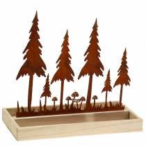 Træbakke skov silhuet rust 30 cm x 15 cm
