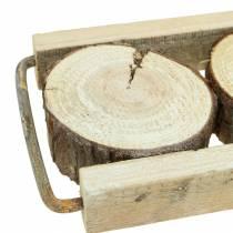 Dekorativt bakketræ med træskiver 34 cm x 12 cm H3cm