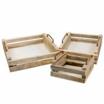Træbakke med håndtag firkantet 30 × 30/24 × 24/18 × 18cm, sæt med 3