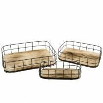 Træbakke med metalkant 45cm 35 × 25/29 × 19/42 × 14cm sæt med 3