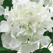 Dekorativ buket af hortensiaer hvide kunstige blomster 5 blomster 48cm