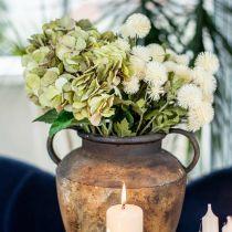 Hortensia buket kunstgrøn, brun 5 blomster 48cm