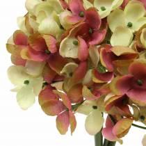 Hortensia bund kunstige blomster lyserøde, gule 28 cm