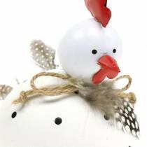 Dekorativ figur kylling hvid med prikker og fjer H13cm