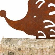 Pindsvin patina på træbunden 26 cm x 18 cm