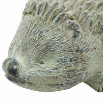 Dekorativ figur pindsvin 22cm havedekoration efterår antik grøn 20 × 12 × H10cm