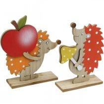 Efterårsfigur, pindsvin med æble og champignon, trædekoration orange / rød H24 / 23,5 cm sæt med 2