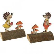 Pindsvin med svampe, efterårsfigur, par træpindsvin gul / orange H11cm L10 / 10,5cm sæt med 2