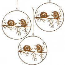 Metal vedhæng, pindsvin på gren, patina, efterårsdekoration, dekorativ ring Ø15,5cm 3stk