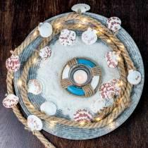 Jutesnor med skaller og LED 200 cm dekorativ fiskerestaurant