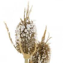 Tidselgren kunstigt iset brun kort tidsel med 3 hoveder 90cm