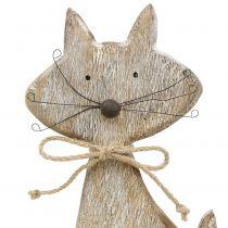 Træfigur kattenatur, hvid 37cm