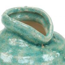 Keramisk vase antik blå H9cm