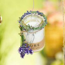 Stearinlys i en glasdekoration med låg Pure Nature voksstearin bivoks olivenolie