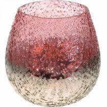 Glas lanterne, fyrfadsstage, borddekoration, lyseglas lyserød / sølv Ø15cm H15cm