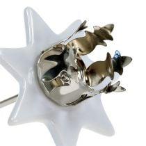 Lysestage stjerne hvid-sølv Ø6cm 4stk