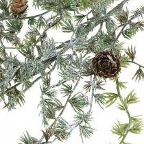Deco gren lærk med kegler grøn, snedækket vinter deco 93cm