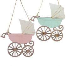 Dekorativ hængende klapvogn lyserød / blå 16,5 cm x 15 cm 6 stk
