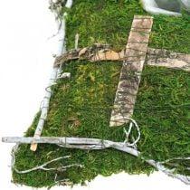 Pude mos og vinstokke med kryds til gravopstilling 25x25cm