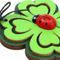 Shamrock med bille til hængende grøn 7 cm 6stk
