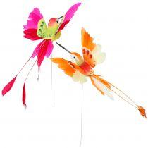 Kolibri på wiren for at tilslutte lyserød, orange 17 cm 6stk