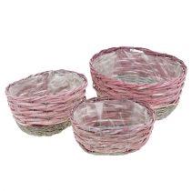 Oval kurv med 3 lyserøde, naturlige