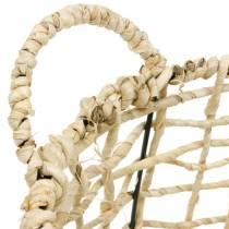 Fletkurv lavet af havgræs, dekorativ kurv, opbevaringskurv, håndtagskurv rund Ø36 / 28 sæt med 2
