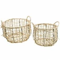 Fletkurv lavet af havgræs, dekorativ kurv, opbevaringskurv, håndtagskurv rund Ø36 / 28, sæt med 2