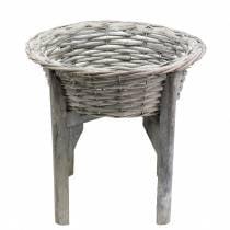 Kurvskål med træstativgrå, hvidvasket Ø33cm