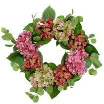 Krans hortensiaer Ø60cm grøn, lyserød 1 stk