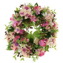 Blomsterkrans med hortensiaer og bær lyserød Ø30cm