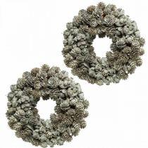 Dekorative kransekegler lærk og cypreshvide, glitter Ø20cm 2stk