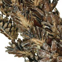 Dekorative kransekegler Julekrans brun, glitter Ø30cm
